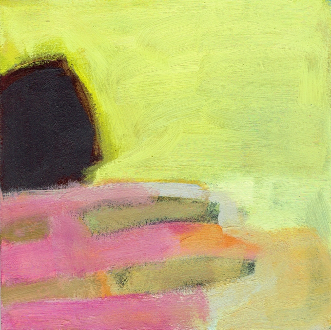 Landscape brown rock yellow sky pink ground 6x6 9-15 small