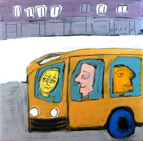 Clay tile - guys on a bus 3-16 6x6 small
