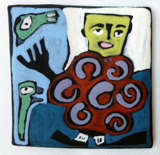 Clay Tile @ 4x4 8-19 person with swirly body talking to two creatures1